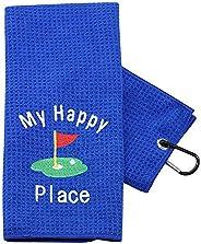 PXTIDY Golfer Golf Towel My Happy Place Golfing Golf Towel Gift Golf Father Gift Golf PAPA Father's Day Embroi