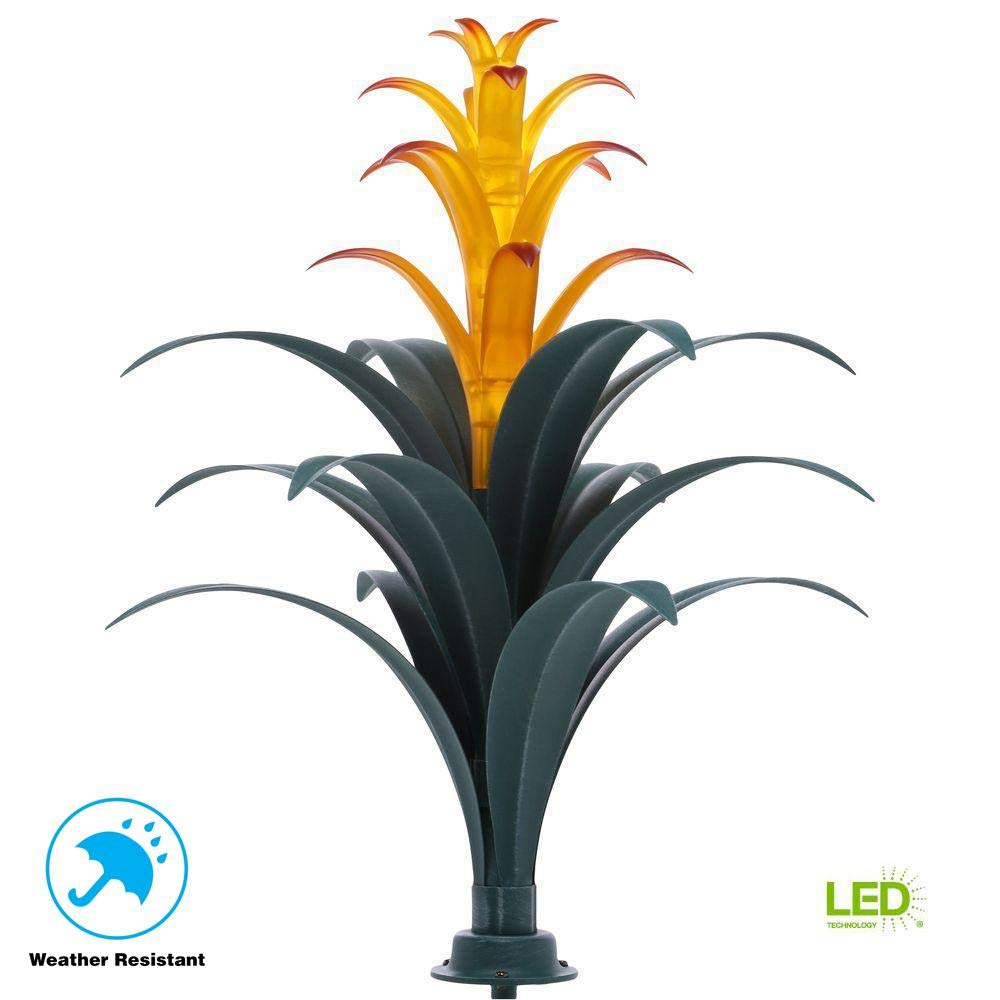 Bromeliad Brown Plant Solar LED Light with Real Art Glass Flowers Which Are Hand Crafted and Light up with Elegance At Night