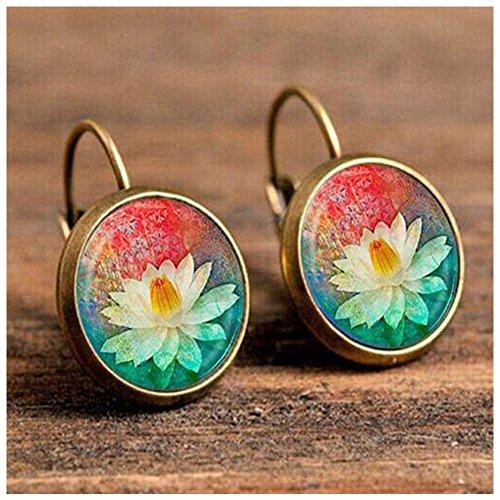 Christmas GERGER BO Women's Retro Luxury Exquisite Time Gem Flowers Earrings (Golden)