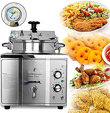 Amazon Com Cgoldenwall 2 4kw 15l Stainless Steel Commercial Electric Pressure Chicken Deep Fryer Fry Frying Machine 110v 220v Kitchen Dining