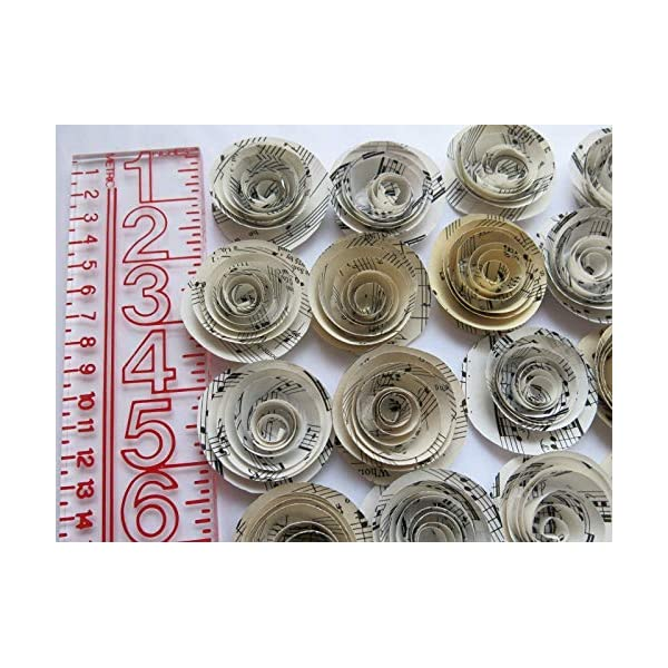 Sheet Music Roses, Set of 24, Musical Party Theme Decorations, 1.5 Inch Paper Flowers, Baby Shower Decor Wedding Centerpiece