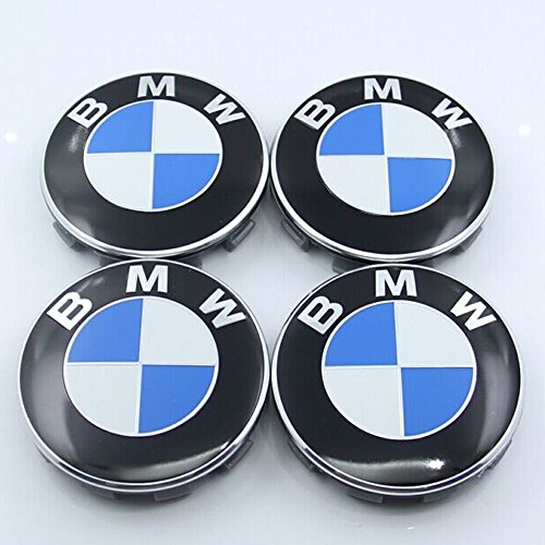 ZZHF1 Wheel Centre Hub Caps 68mm For BMW Badge Emblem (4Pcs) (B)