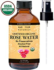 Organic Rose Water Facial Toner 4 oz, USDA Certified Organic, Pure and Natural Facial Toner Spray by Mary Tylor Naturals