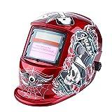 Welding Helmet Solar Powered Auto Darkening Professional Hood Mask with Adjustable Shade Range #9~#13 Face Protector Crimson Pirate