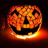 Halloween Candle Holder -Mosaic Jack O Lantern Stained Glass