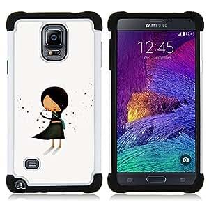 """Hypernova Híbrido Heavy Duty armadura cubierta silicona prueba golpes Funda caso resistente Para Samsung Galaxy Note 4 IV / SM-N910 [Dibujado Pastel Minimalista Negro Mano""""]"""