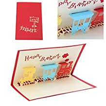 Poity 3D Train Greeting Card Pop Up Paper Cut Postcard Birthday Valentines Party Gift
