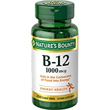 Nature's Bounty Vitamin B12 Supplement, Supports Metabolism and Nervous System Health, 1000mcg, 200 Tablets