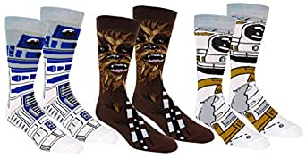 Star Wars Mens Casual Crew Socks 3 Pair Pack (Shoe Size 6-12, Assorted Star Wars Characters, Blue/Brown/White)