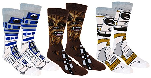 Star Wars Mens Casual Crew Socks 3 Pair Pack (One Size, Brown/White)