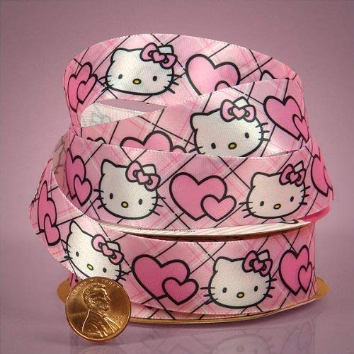 Hello Kitty Ribbon With Hearts, 7/8