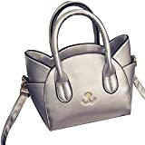 Aksautoparts Women Fashion Cute Cat Top Handle Tote Bag Leather Cross Body Shoulder Bag (Sliver)