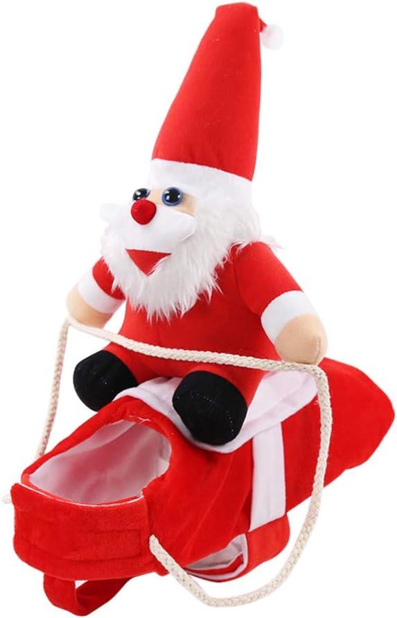 POPETPOP Traje de Mascota de Jinete Traje de Perro de Navidad Abrigo cálido de Invierno para Fiesta de Navidad Cosplay Suministros para Mascotas