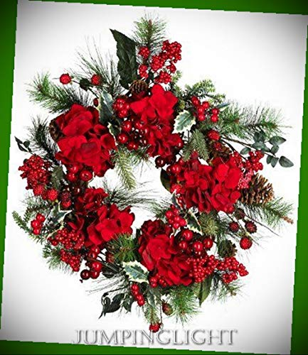- JumpingLight 4661 22'' Hydrangea Holiday Wreath Artificial Flowers Wedding Party Centerpieces Arrangements Bouquets Supplies