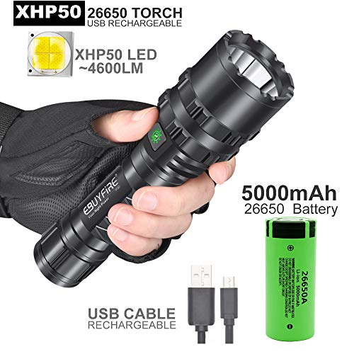 [26650 Version]Rechargeable LED Flashlight,5 Modes, Waterproof Torch with XHP50.2 Lamp Bead,Most Powerful for Emergency Hunting Camping Hiking Fishing 4600 Lumens (26650 Battery Included)