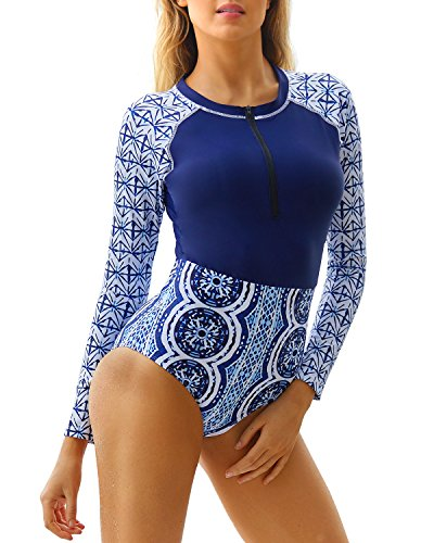 Funnygirl Women's Fashion Printing Rashguard Long Sleeve Zip UV Protection Print Surfing Swimsuit Swimwear Bathing Suits Navy Blue XX-Large