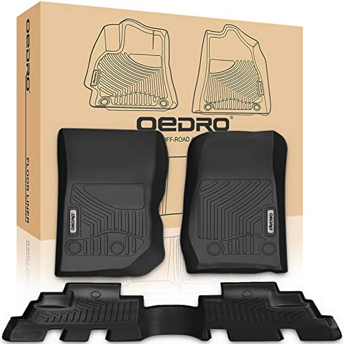 Floor Liner Row (oEdRo Wrangler Floor Mats Liners Compatible for JK 4 Door Unlimited - Unique Black TPE All-Weather Guard,Includes 1st & 2nd Front Row and Rear Compatible for 2014-2018 Jeep Floor Liner Full Set)