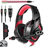 Gaming Headset with Mic for PS4 PC Mac Laptop Tablet Xbox One, Wired 3.5mm Jack 7.1 surround stereo, USB Powered LED Dazzle Light Enrich your Game and Chat Experience. ONIKUMA K1 Red. For Sale
