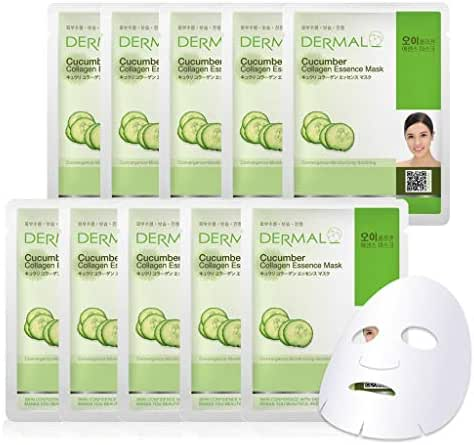 DERMAL Cucumber Collagen Essence Facial Mask Sheet 23g Pack of 10 - Soothing & Moisturizing, Redness & Sunburn Relief, Daily Skin Treatment Solution Sheet Mask