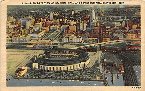 Birds Eye View of Stadium, Mall and Downtown Area Cleveland, Ohio, OH, USA Old Vintage Postcard Post - La In Downtown Malls