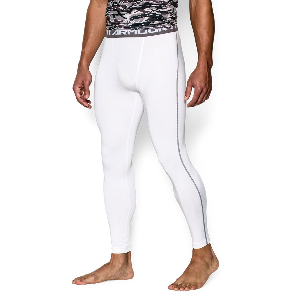 Under Armour Men's HeatGear Armour Compression Leggings, White /Graphite, Small