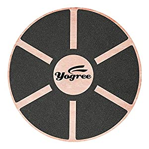 "yogree 15.4"" Wooden Balance Board for Workout, Fitness, Balance Exercise & Rehabilitation, Non-Slip & Safe Pad - Agility Core Trainer Portable Wobble Board"