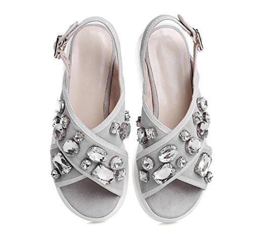 Outdoor Ladies Donna Da Grigio Shoes Fashion Casual Strass Heel Flat Scarpe Estate Wedge Sandali Dandanjie xwUZvZ