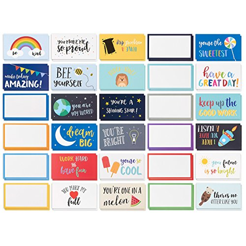 Best Paper Greetings Pack of 60 Lunch Box Notes - Colorful Inspirational and Motivational Cards for Kids, 2 x 3.5...