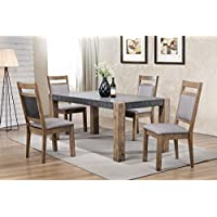 Roundhill Furniture D725-5PC Costabella Dining Collection 5 PC Set, Table with 4 Chairs