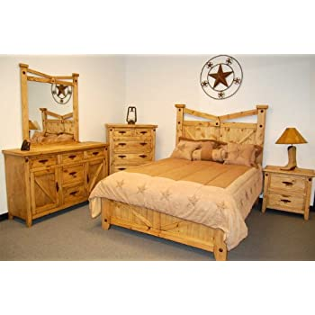 Rustic, Western Santa Fe Bedroom Set   King Size Bed