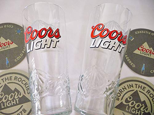Coors Light Embossed Beer Glass 16 oz. Set ~