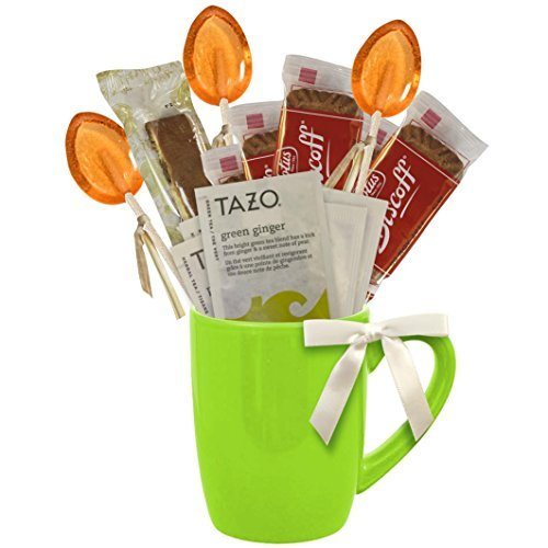 Cottage Lane Hot Tea Mug Boxed Set Featuring Tazo Herbal Tea Bags, Honey Spoon Stirrers, Nonni's Biscotti, and Biscoff Lotus Cookies (Green Ginger Tea)