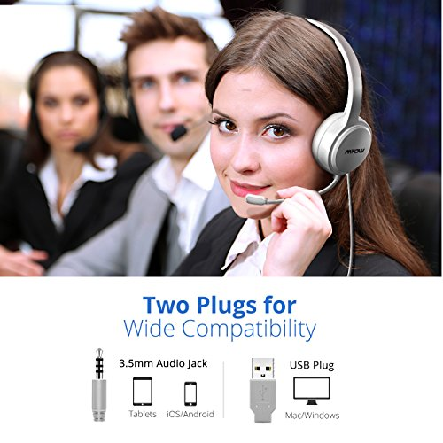 21f85edcfe4 Mpow 071 USB Headset/ 3.5mm Computer Headset with Microphone Noise  Cancelling, Lightweight PC Headset Wired Headphones, Business Headset for  Skype, Webinar, ...