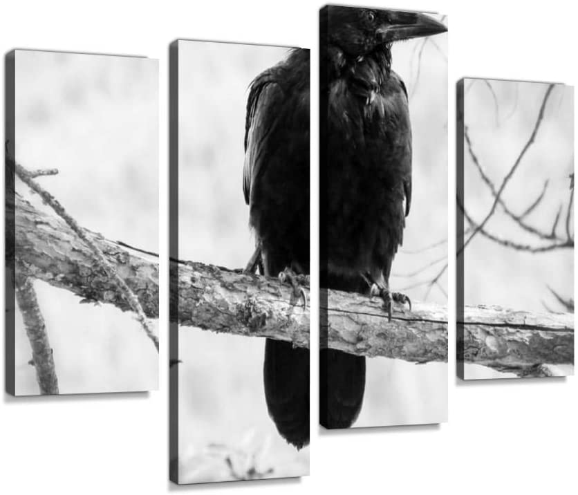 Crow Bird Black Nature Animal Wildlife Outdoors Black and White Forest Canvas Wall Art Hanging Paintings Modern Artwork Abstract Picture Prints Home Decoration Gift Unique Designed Framed 4 Panel