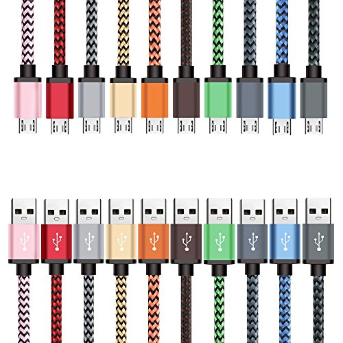 Micro USB Cable 10-Pack 3ft / 0.9m, BeneStellar Premium Nylon Braided USB 2.0 A Male to Micro B Charging Cables for Samsung, LG, Motorola, Nexus, HTC, Sony, Nokia, Android devices and More