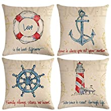 "ULOVE LOVE YOURSELF Coastal Beach Throw Pillow Covers with Navigation Sailling Pattern Anchor-Lighthouse- Rudder-Life Buoy Nautical Cushion Covers Home Famaily Decorative Pillowcases 18""×18"",4Pack"