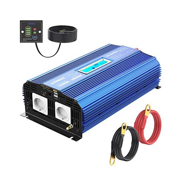 51YSngjKD7L Reiner Sinus Wechselrichter 1500W Spannungswandler 12V auf 230V Power Inverter mit 2 AC-Steckdosen 2x2.4A USB-Anschlüsse…
