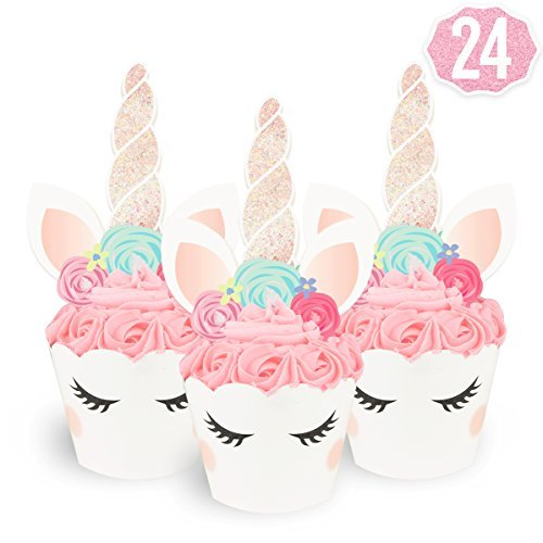 Unicorn Cupcake Toppers + Wrappers | Birthday Party Supplies, Unicorn Horn Cake Decoration + Baby Shower - Set of (Halloween Cake Decorations Games)