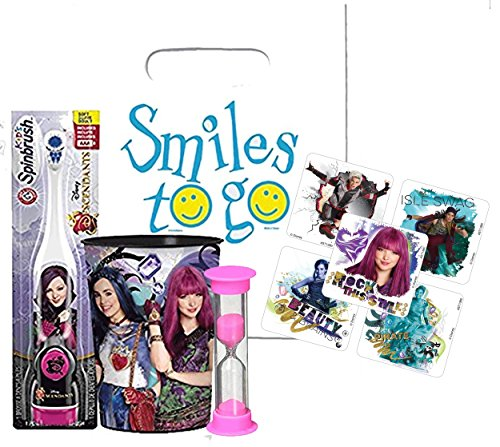Disney Descendants 3pc Bright Smile Oral Hygiene Bundle! Turbo Powered Toothbrush, Brushing Timer & Mouthwash Rinse Cup! Plus Dental Gift & Descendants Character Stickers!