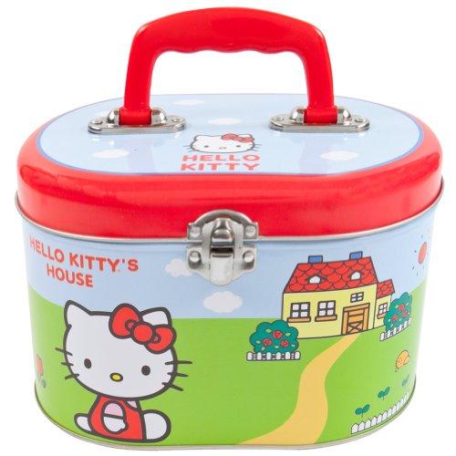 Hello Kitty House Oval Tin Train Case/ Sewing Box