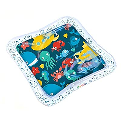 Tummy Time Baby Water Mat, Inflatable Play Mat Water Cushion Infant Toys, Fun Early Development Activity Play Center for Toddlers Newborn Boys Girls, 18x18