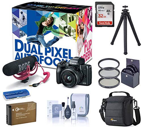 Canon EOS M50 Mirrorless Camera Video Creator Kit w/EF-M 15-45mm Lens, Black Basic Bundle with Rode Mic, Tripod, Battery and Accessories