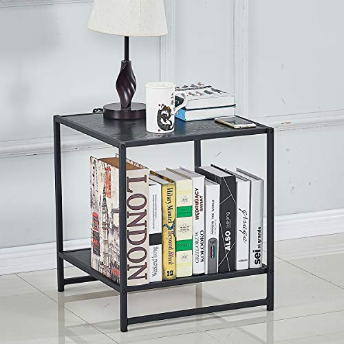 DIKAPA 18.2 Inch Square Side End Table Night Stands 1 PCS,Assemble Only Need Two Minute