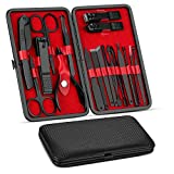 Manicure Set, Pedicure Kit, Nail Clippers, Professional Grooming Kit, Nail Tools 18 In 1 with Luxurious Travel Case For Men and Women 2020 Upgraded Version (Color: Black)