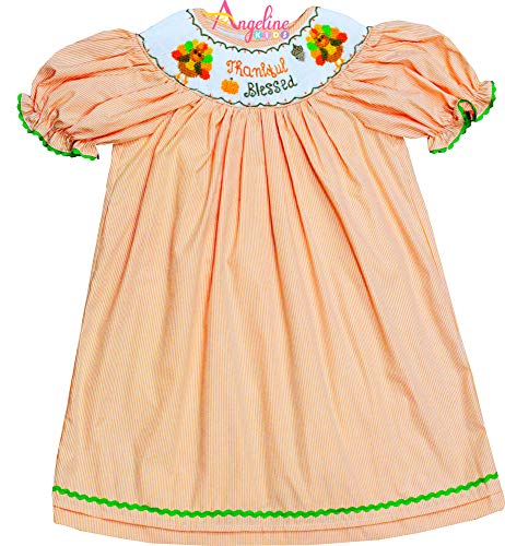 Angeline Baby Toddler Little Girls Heirloom Smocked Thanksgiving Turkey Thankful Blessed Dress 3M