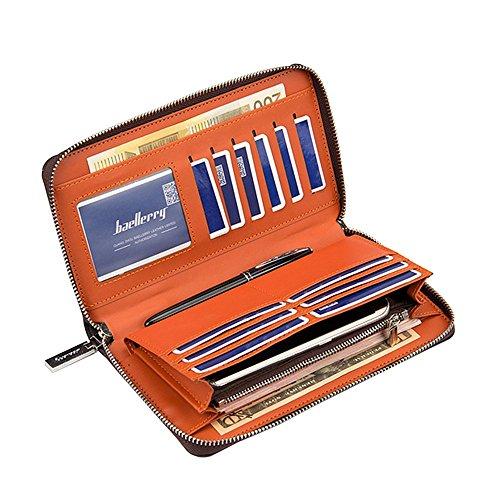 Leder Lange Geldbörse mit Reißverschluss Telefon Tasche, 12 Kreditkartenfächer, 2 Bargeldfächer Stil 3 Dunkelbraun