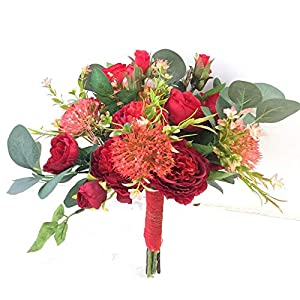 jiumengya ONE Bride Bouquet Artificial Rose Wedding Bridal Bridesmaids Bouquets (red) 101
