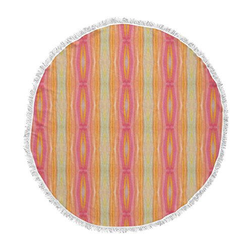 KESS InHouse Nika Martinez Summer Tie Dye Coral Red Round Beach Towel Blanket by Kess InHouse