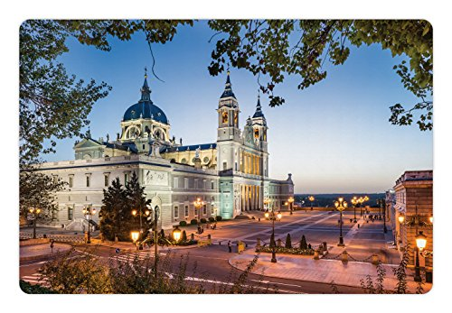 Ambesonne European Pet Mat for Food and Water, Old Cathedral and Royal Palace in Madrid Mediterrenean City Europe Urban Print, Rectangle Non-Slip Rubber Mat for Dogs and Cats, Multicolor