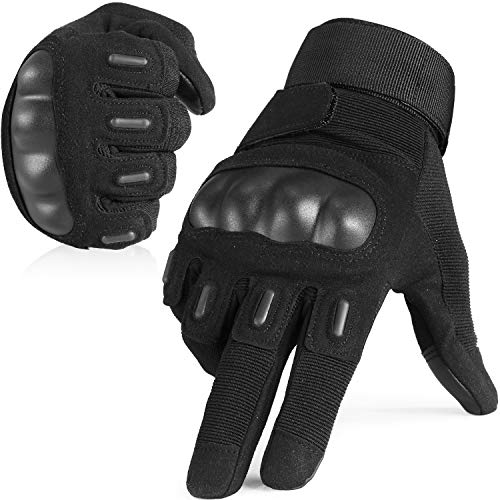 Touch Screen Army Tactical Gloves Military Rubber Hard Knuckle Full Finger Gloves for Cycling Motorcycle Hunting Hiking Airsoft Paintball Outdoor Riding Shooting Sports Gear Size Black Medium